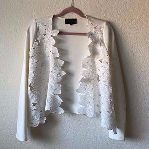 Anthropologie White Floral Cut Out Kimono/Cardigan